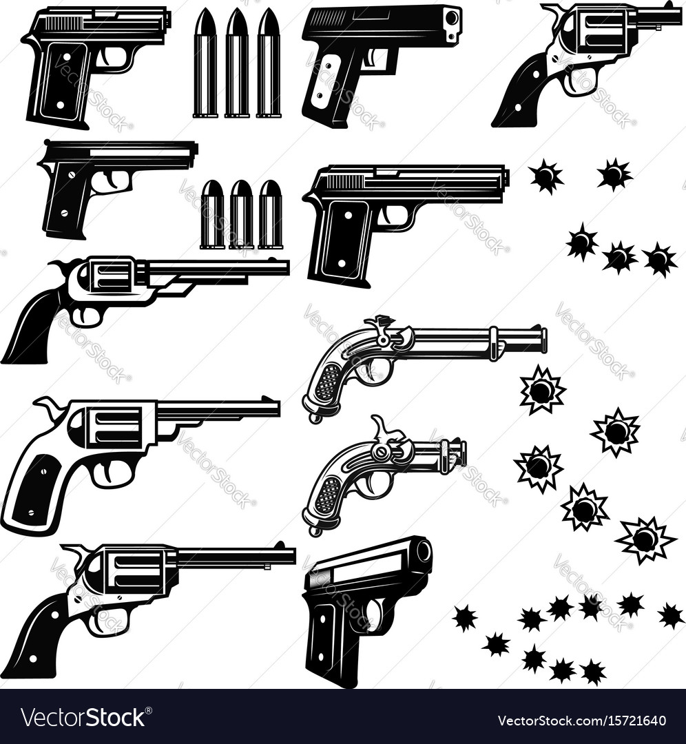 Handguns isolated on white background bullet holes