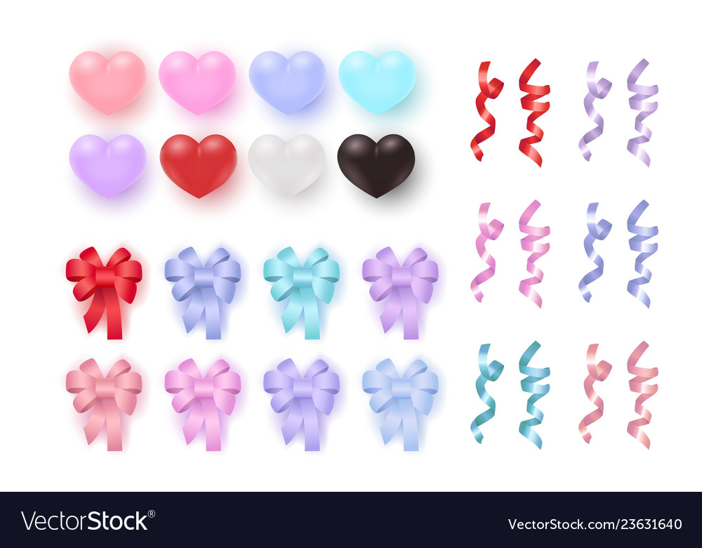 Hearts and ribbon bows with confetti set