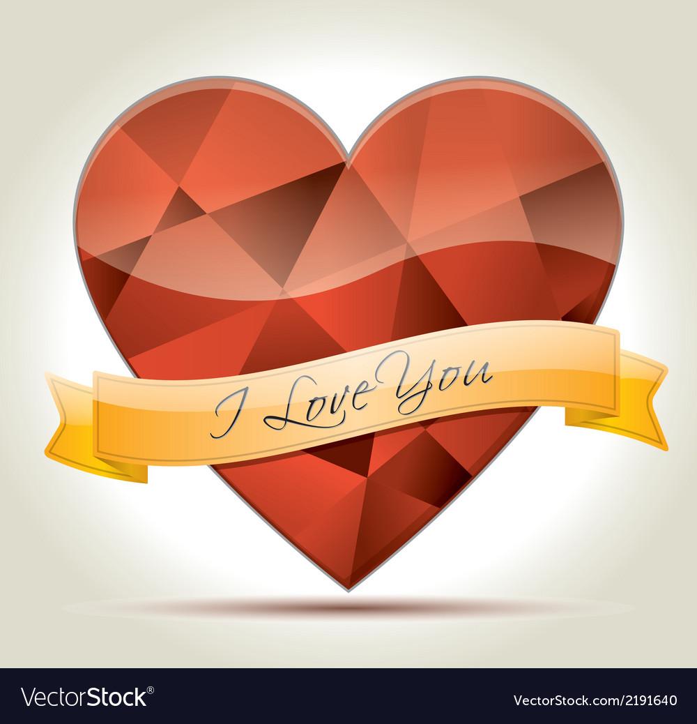 I Love You heart diamond vector image