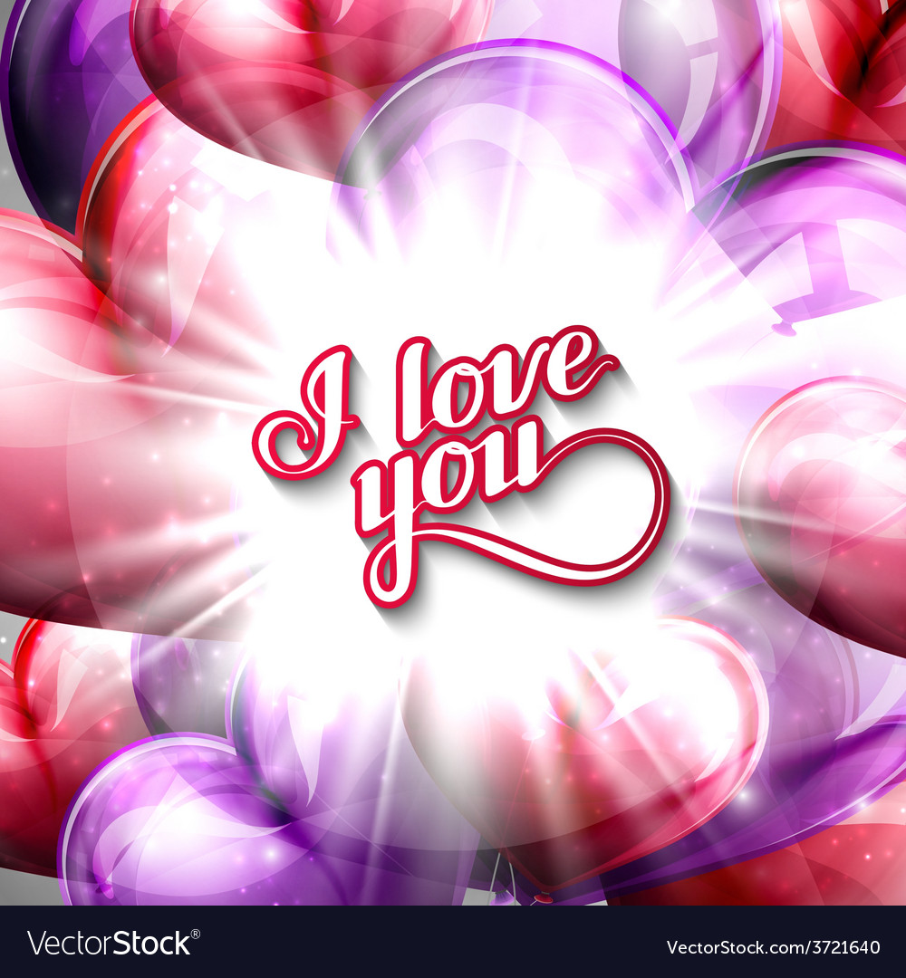 I love you label on the festive balloon hearts vector image