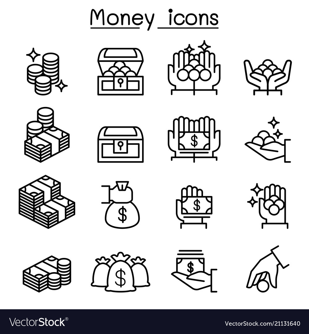 Money coin cash icon set in thin line style