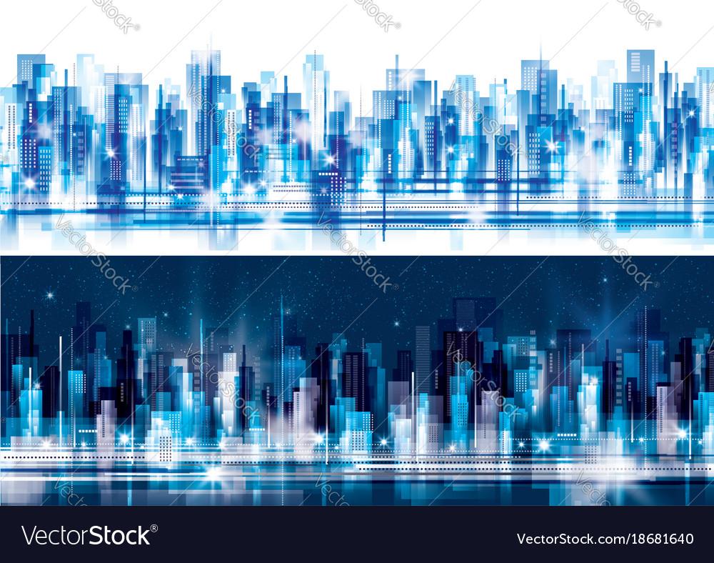 Night and day city skyline
