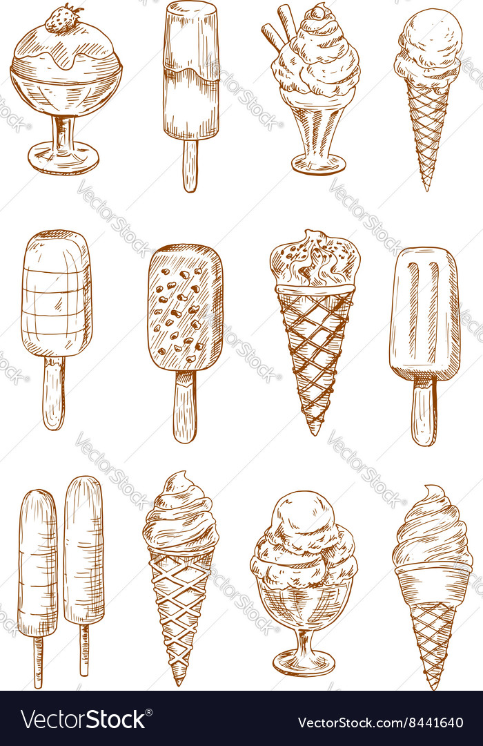 Refreshing ice cream and popsicles sketches