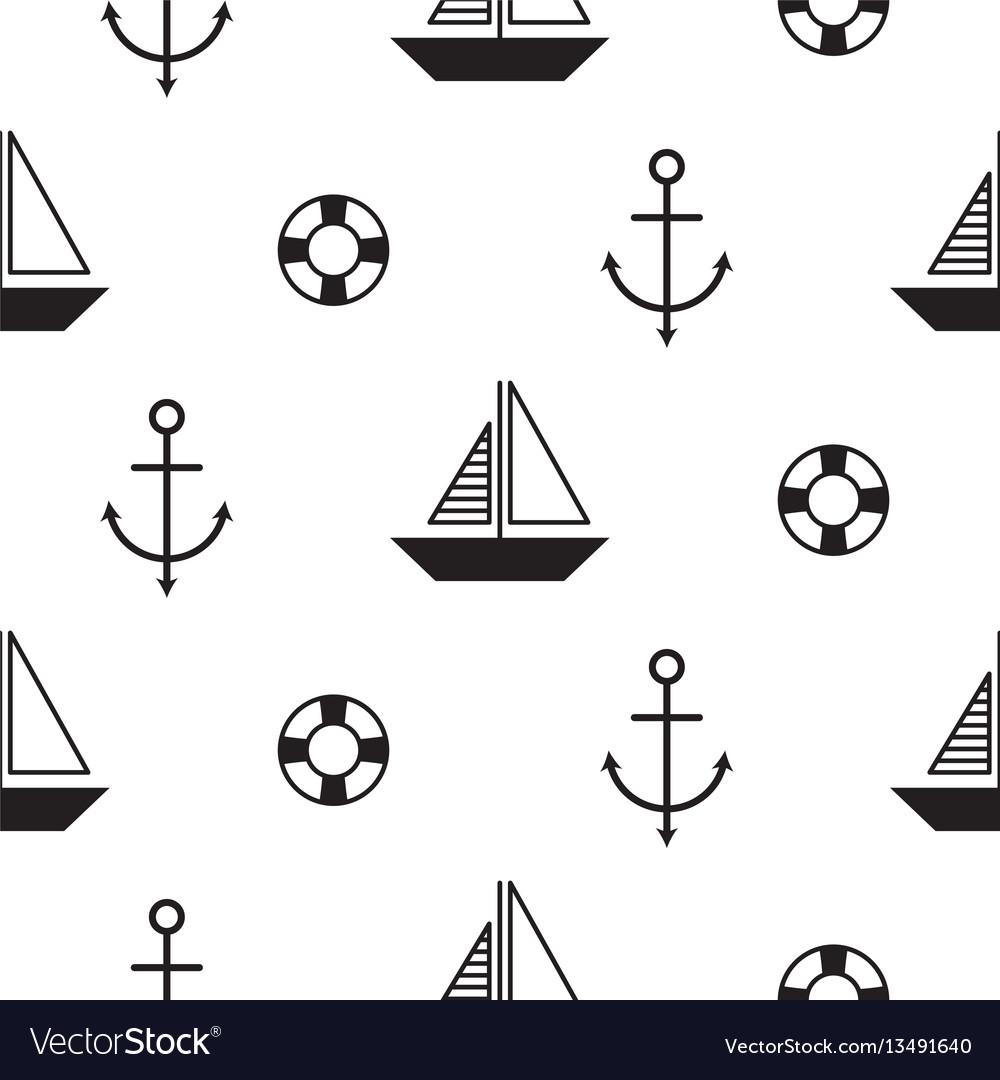 Sailboat seamless nautical pattern in