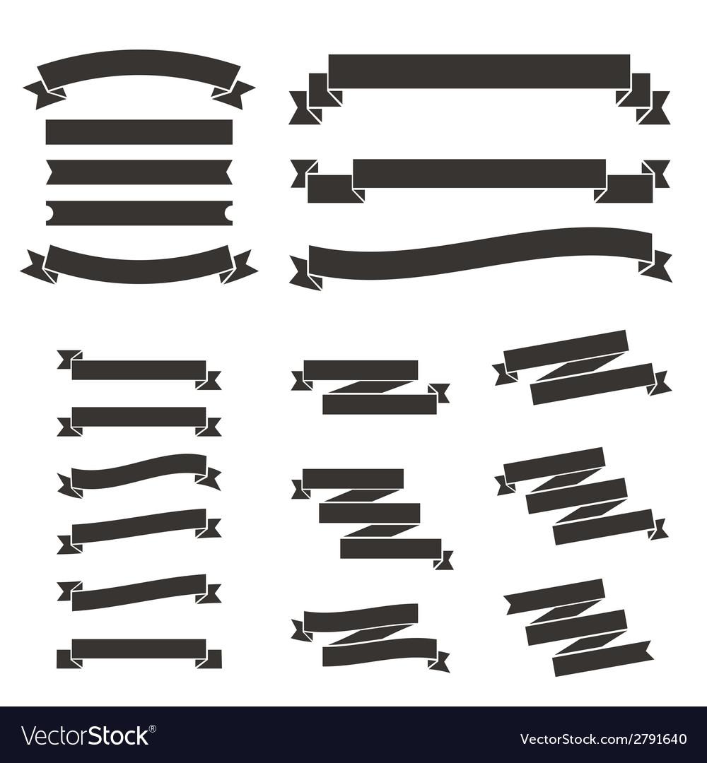 Set of flat vintage ribbons