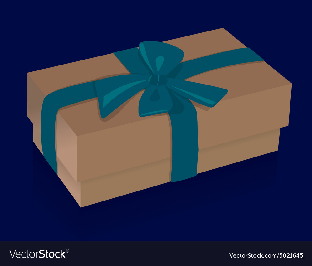 Beautiful beige gift box with purple bow on blue