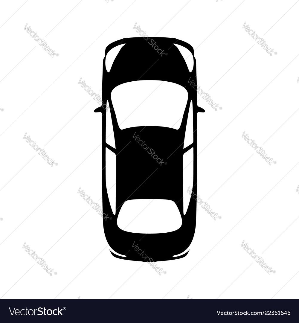 Big Black Car Top View Icon Sport Car Sedan Vector Image