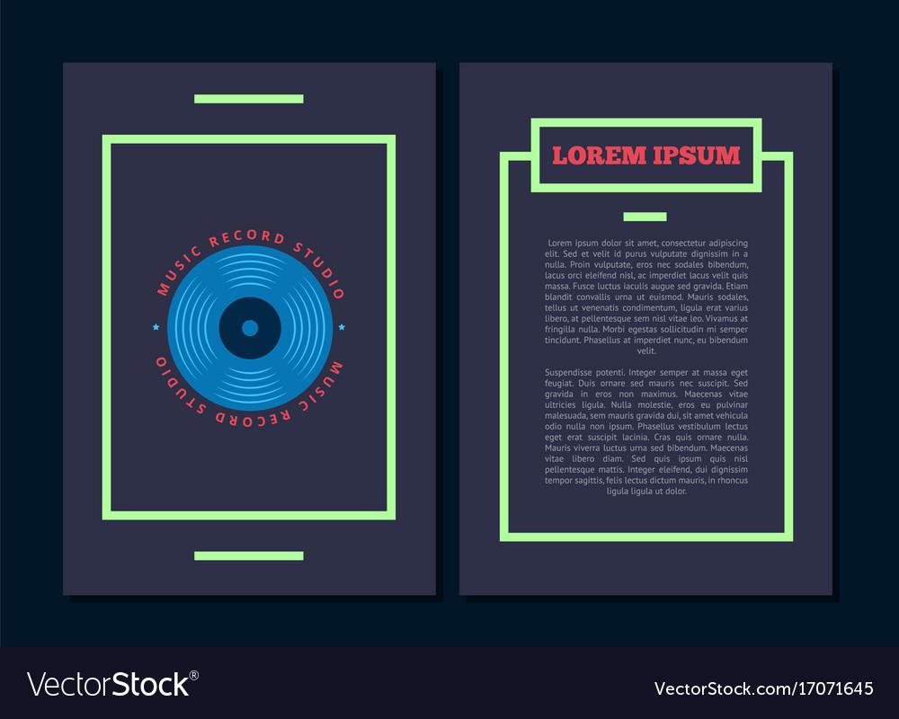 Card flyer with retro sound record studio