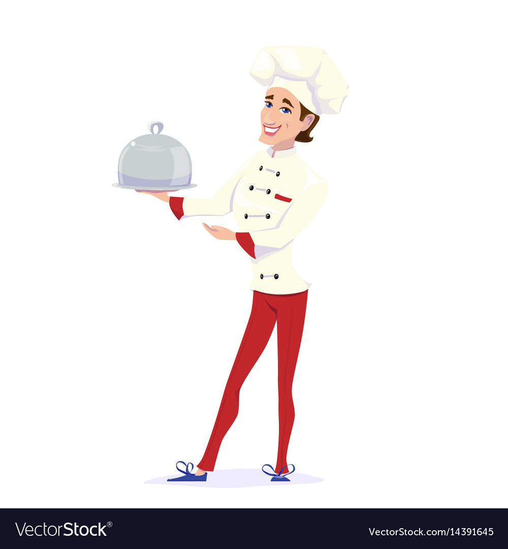 Cook chef carrying dinner vector image