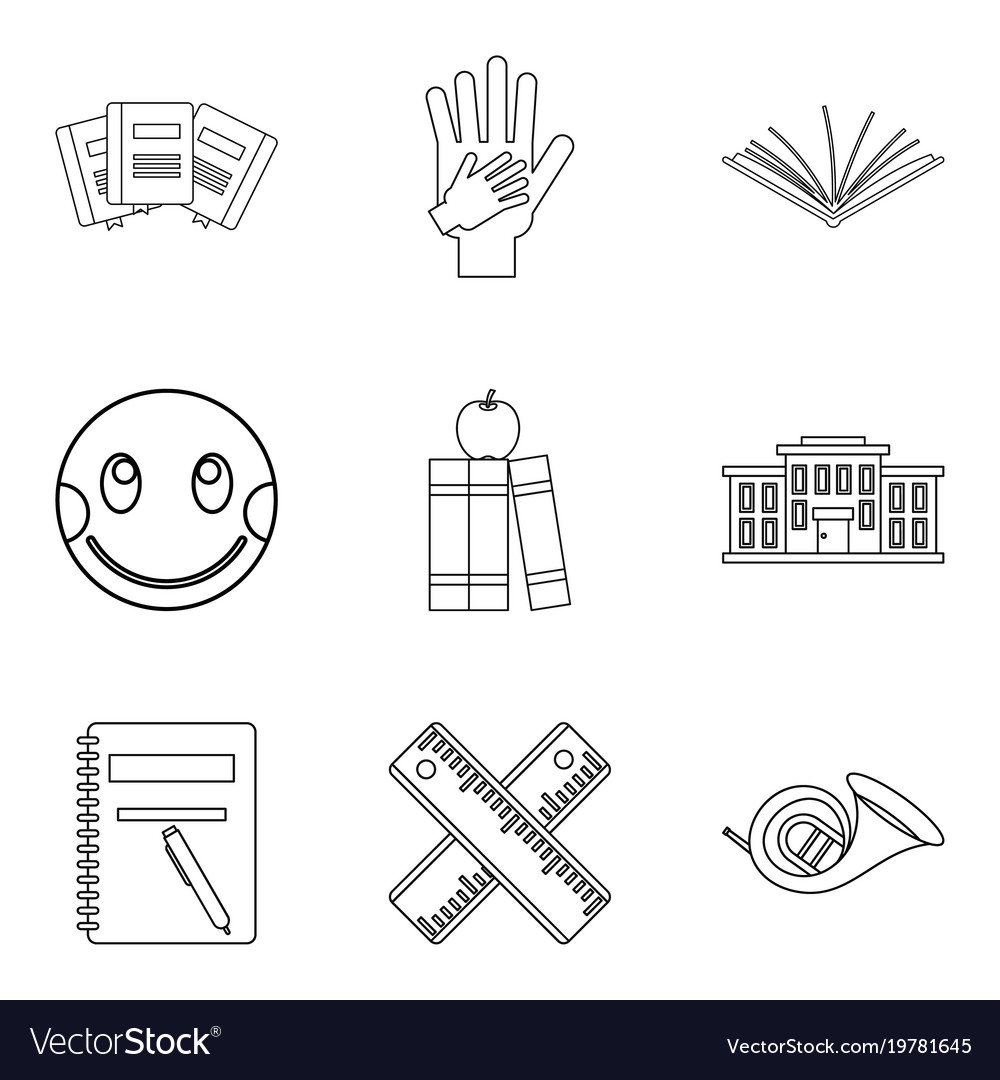 Infant school icons set outline style vector image