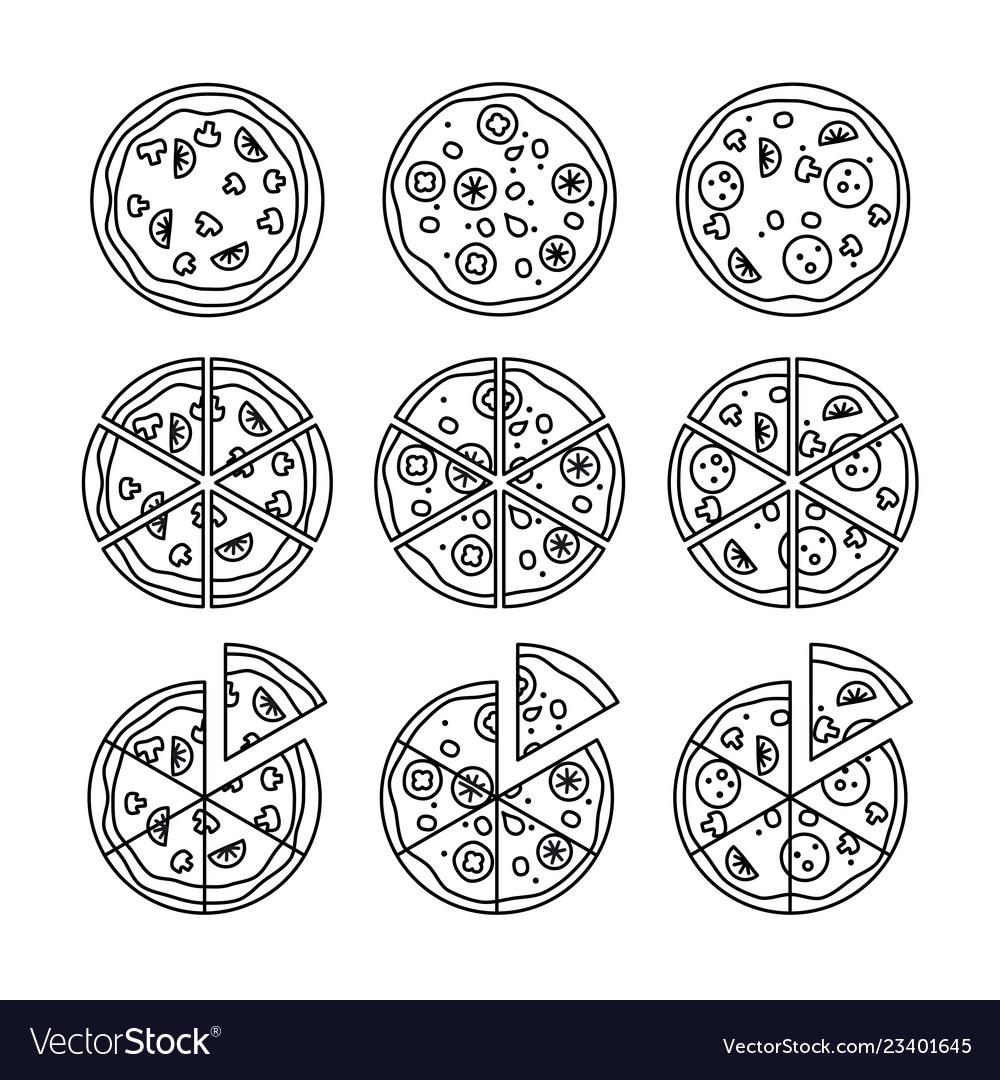 Line pizza icons set
