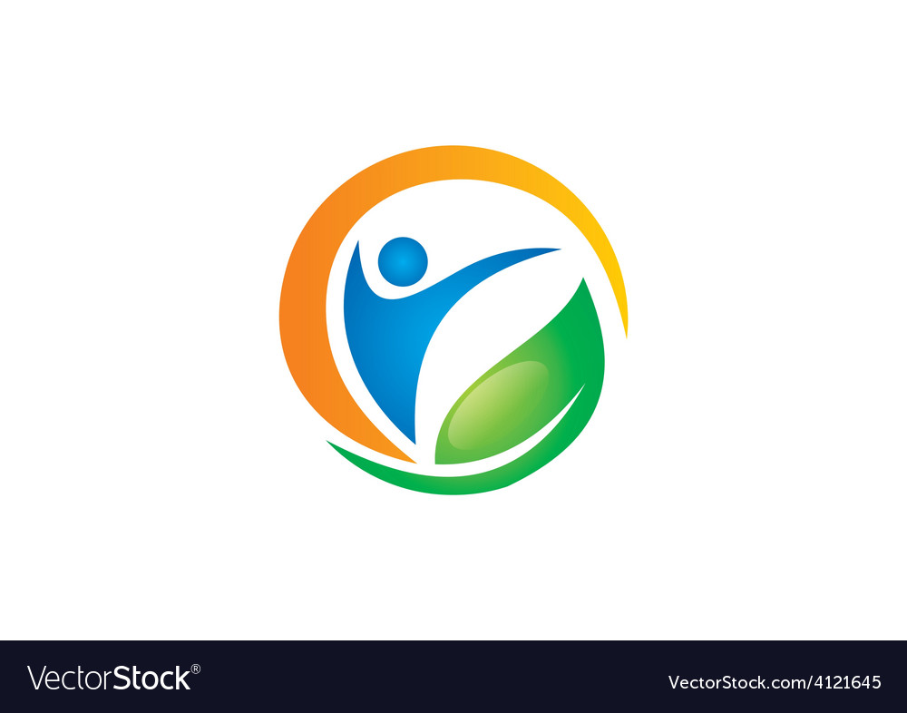 People health fitness spa vegetarian logo