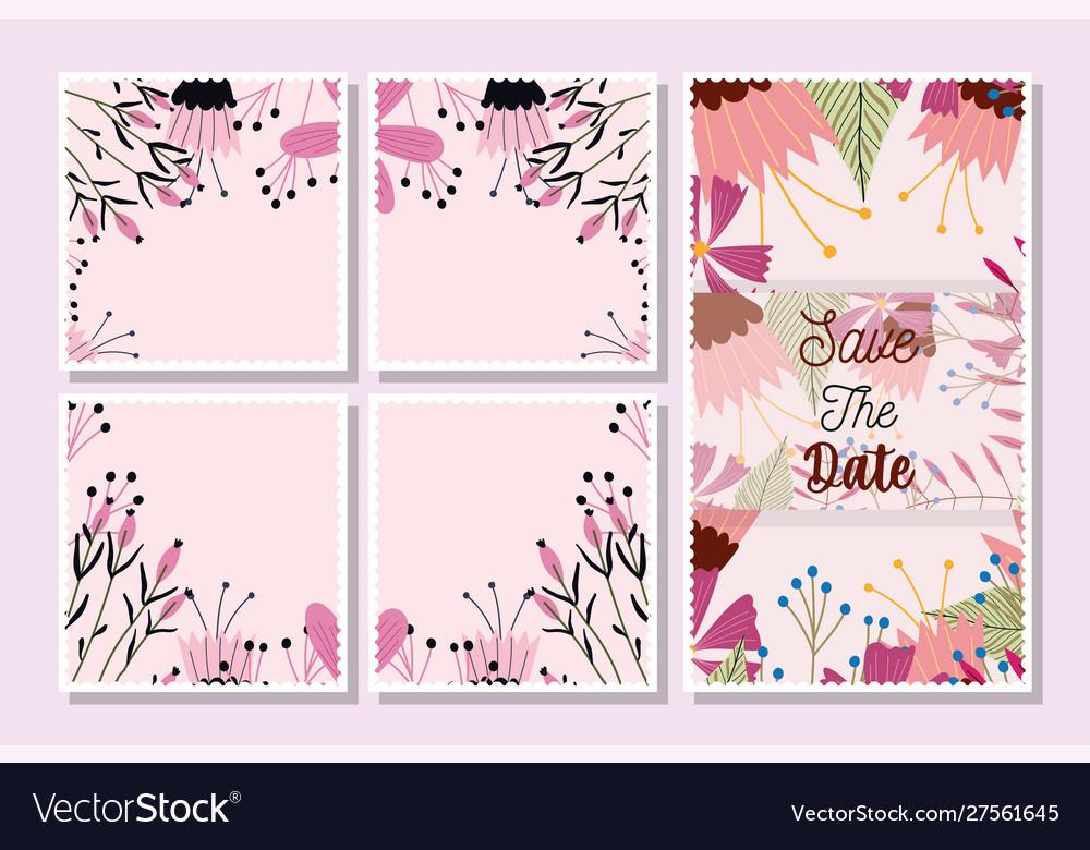 Postcards save date flowers floral wedding