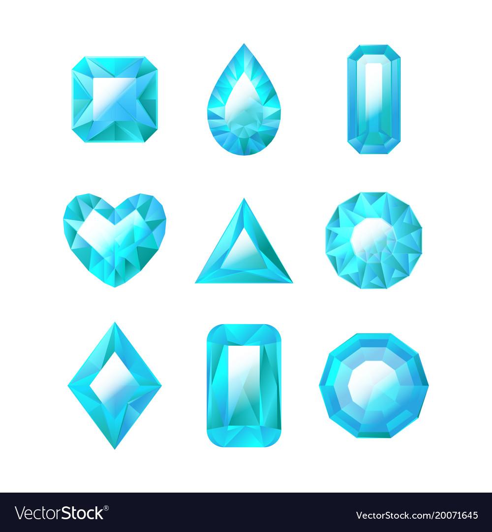 Realistic detailed 3d blue jewels set vector image