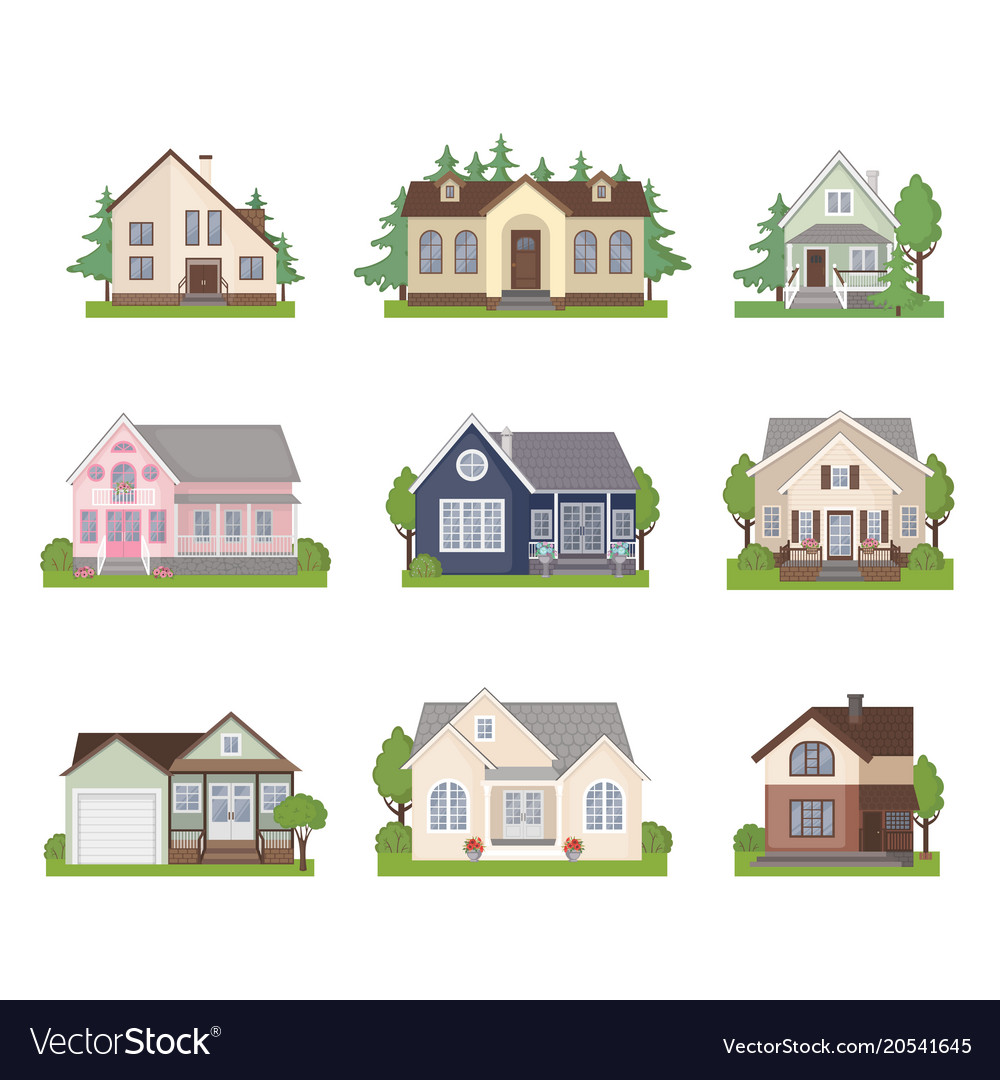 Set of cottage house icons in flat style