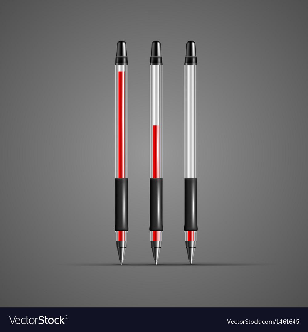 Set of transparent red gel pens