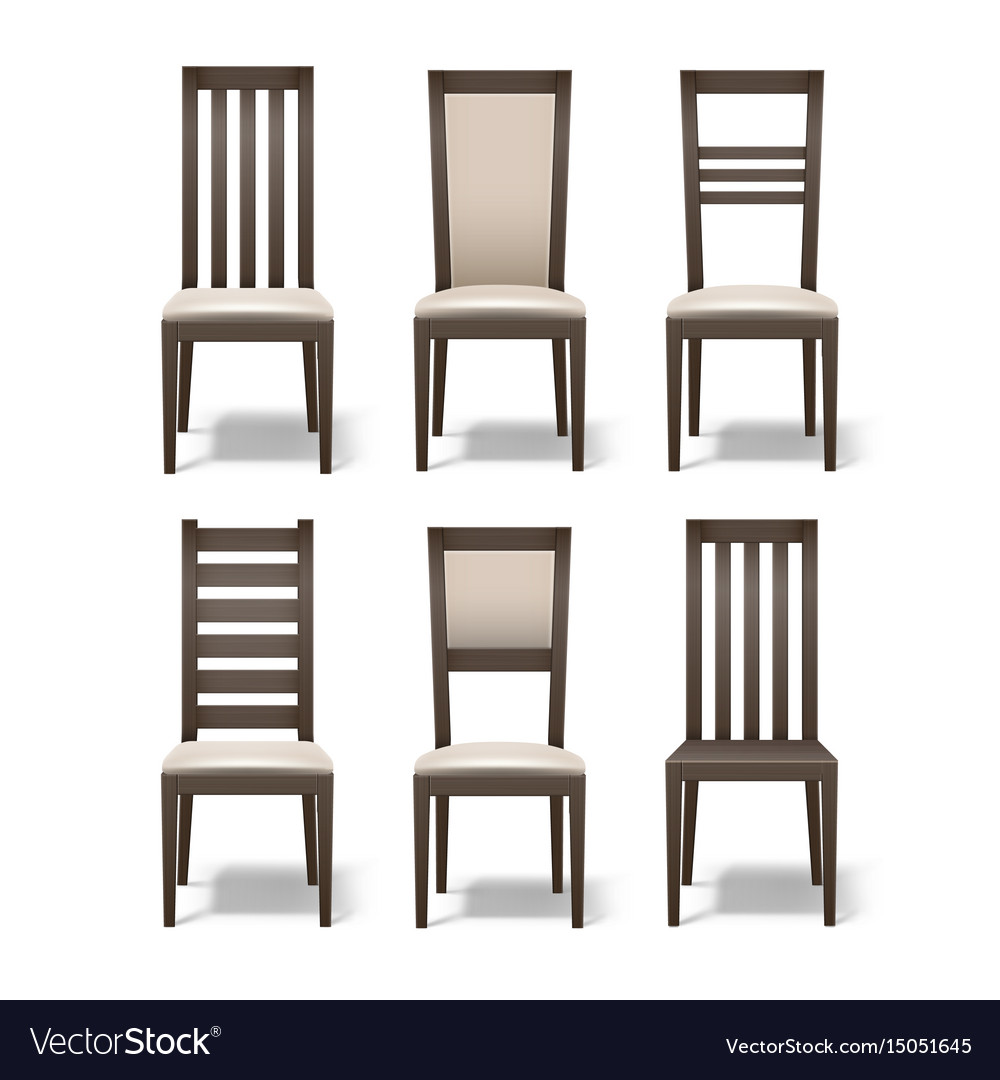 Set of wooden chairs vector image