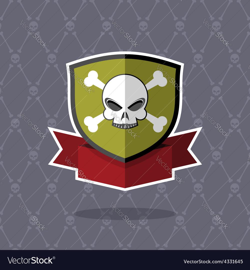 Shield with skull pirate emblem
