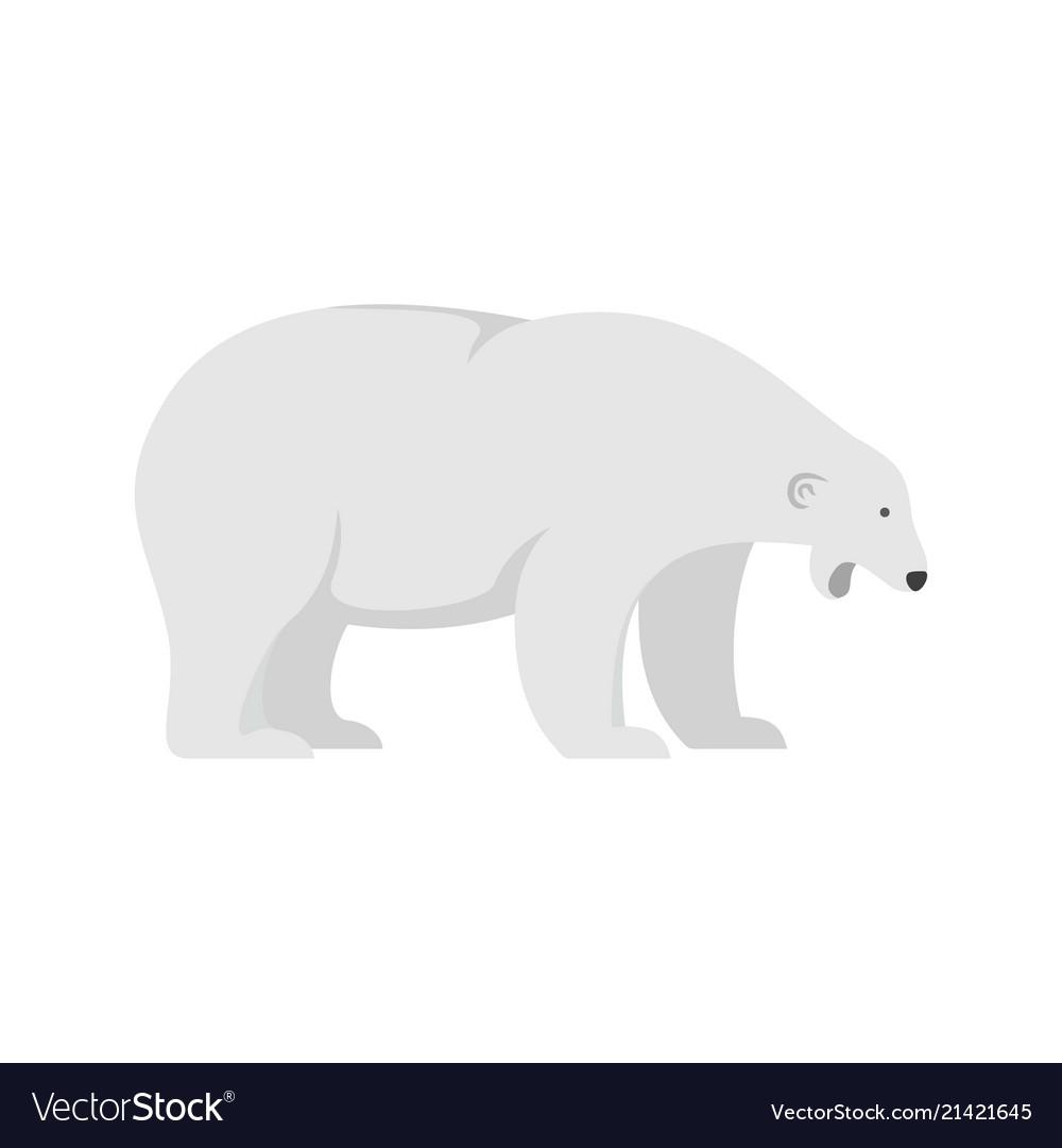 Sleepy polar bear icon flat style