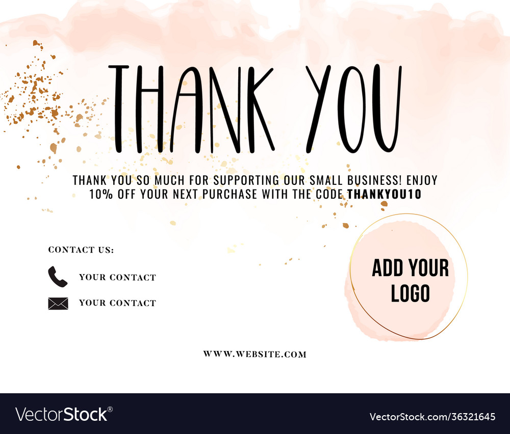 Thank you card greeting customer service template Vector Image Throughout Customer Information Card Template