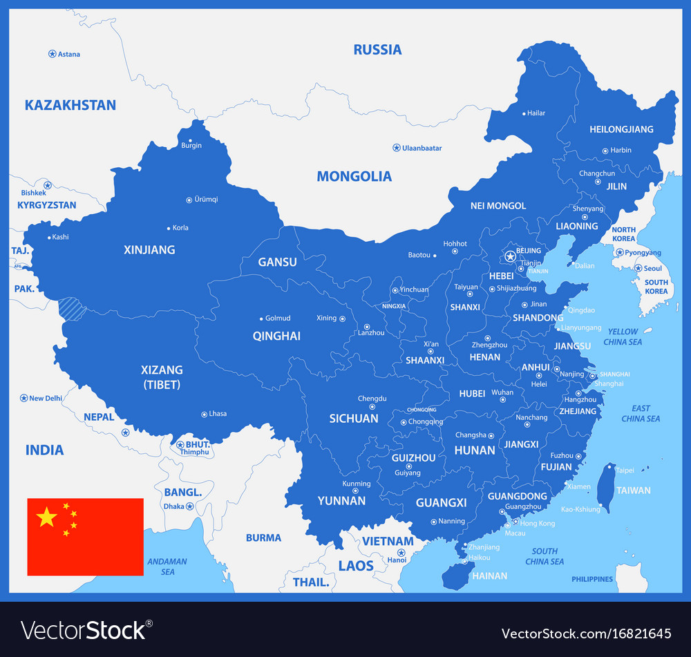 The detailed map of china with regions or states Vector Image on