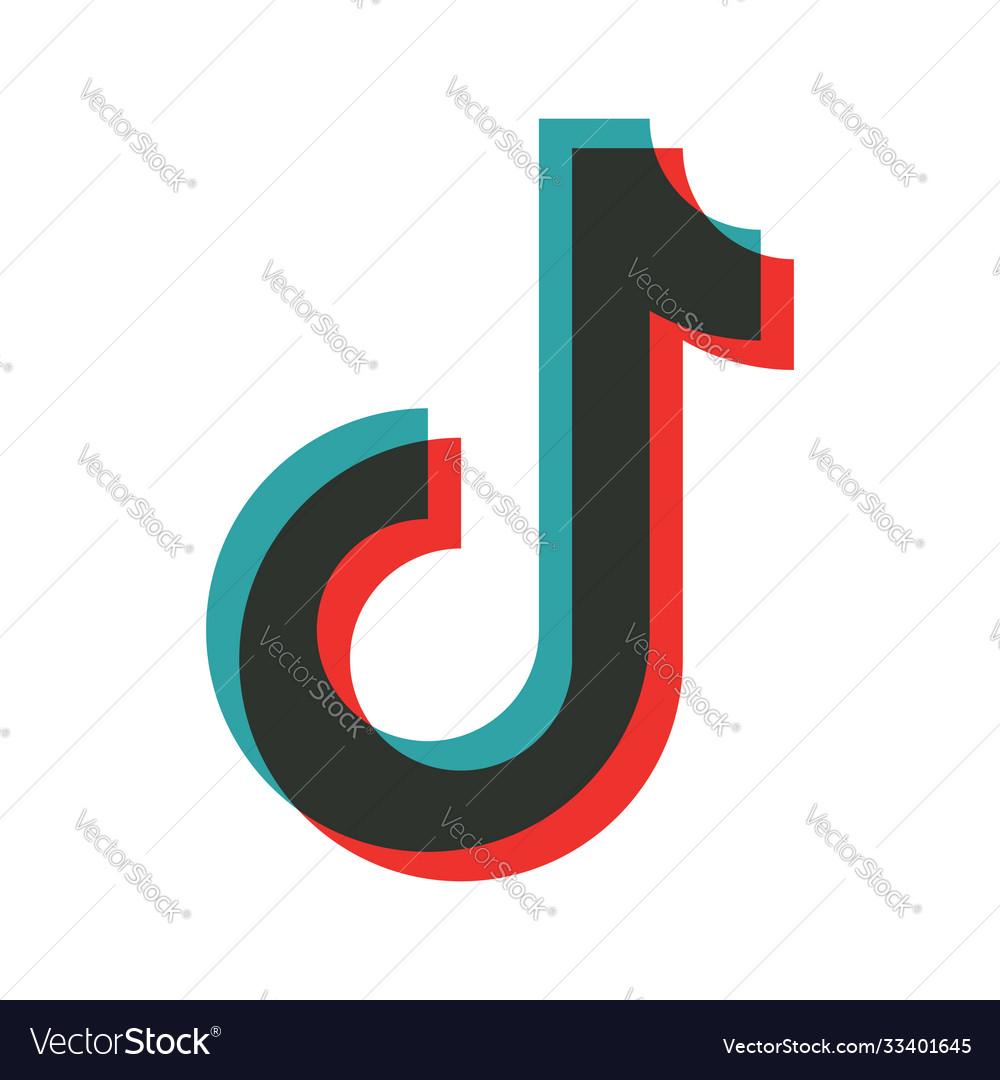 Tiktok Icon Tik Tok Hashtag Logo Social Music Vector Image