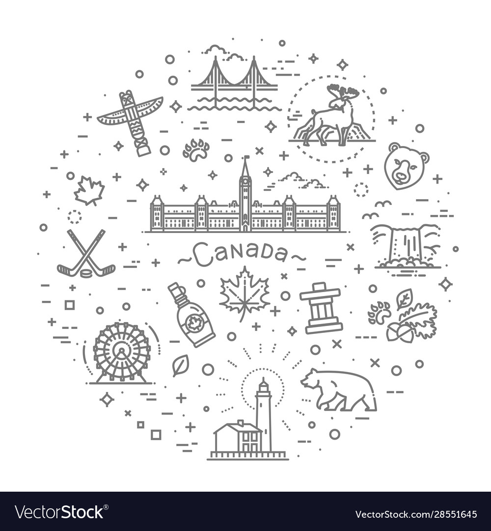 Travel canada traditional objects icons