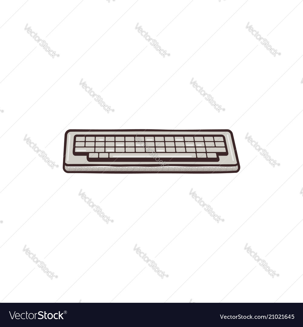 Vintage drawn keyboard concept mixed flat