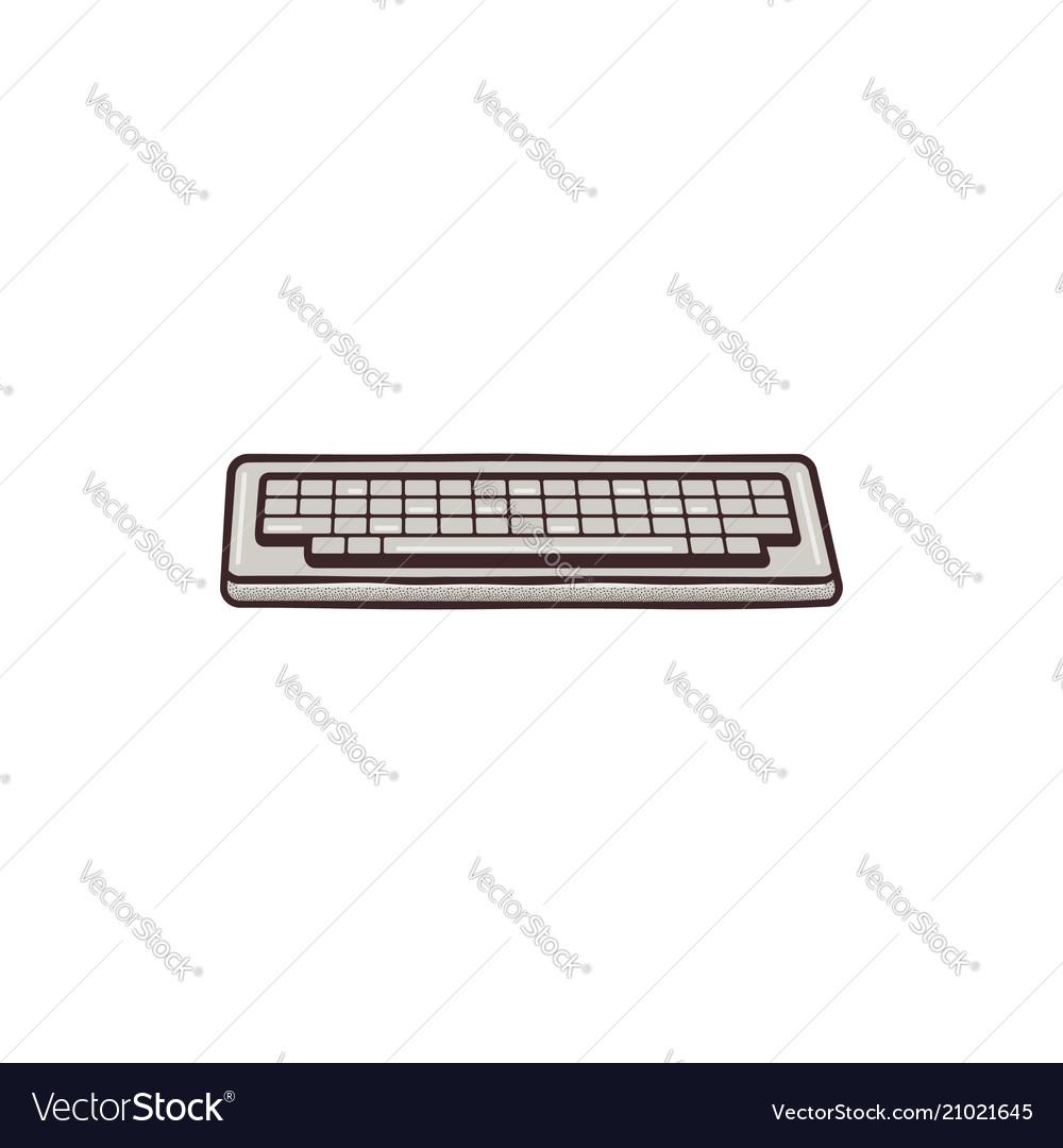 Vintage hadn drawn keyboard concept mixed flat