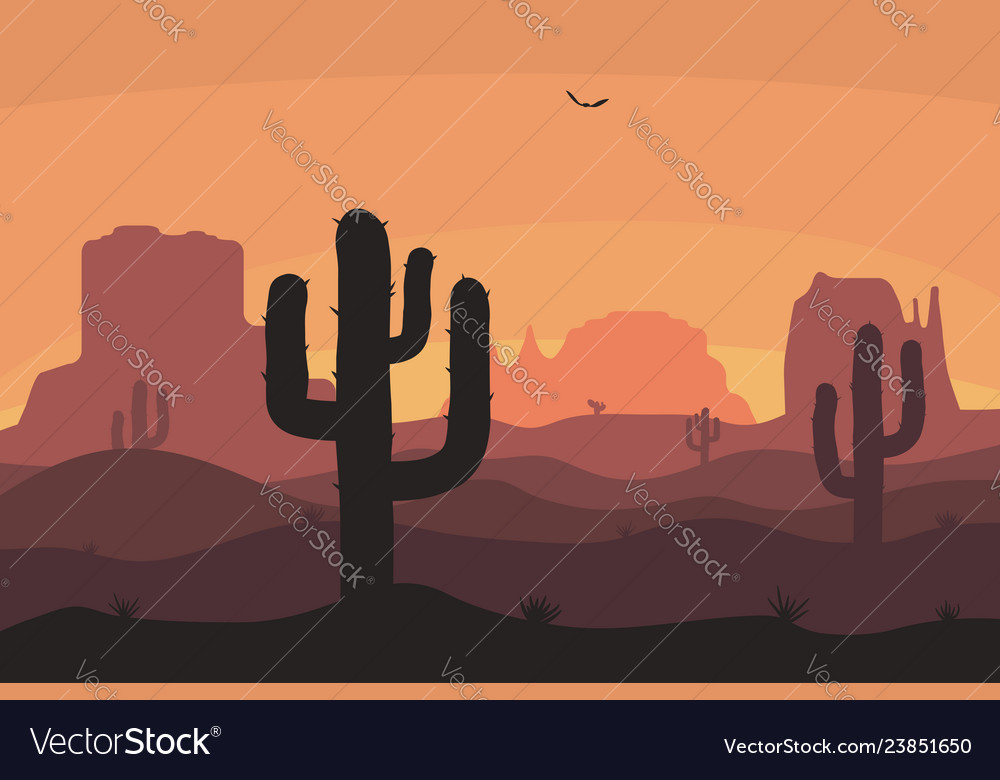 Cactuse and mountains silhouettes desert