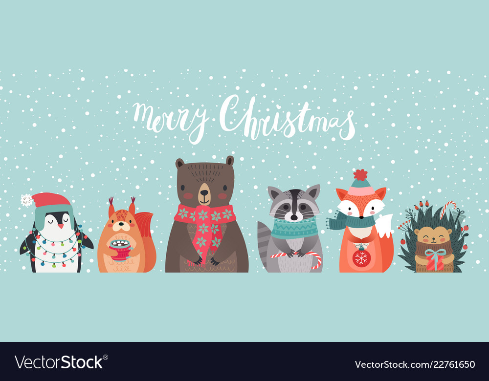 Christmas card with animals hand drawn style