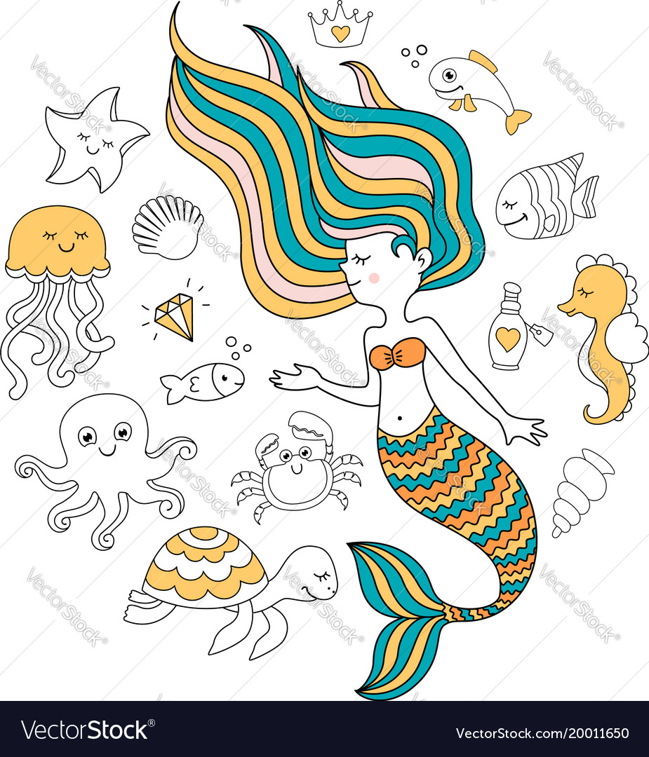 Cute little mermaid with sea animals