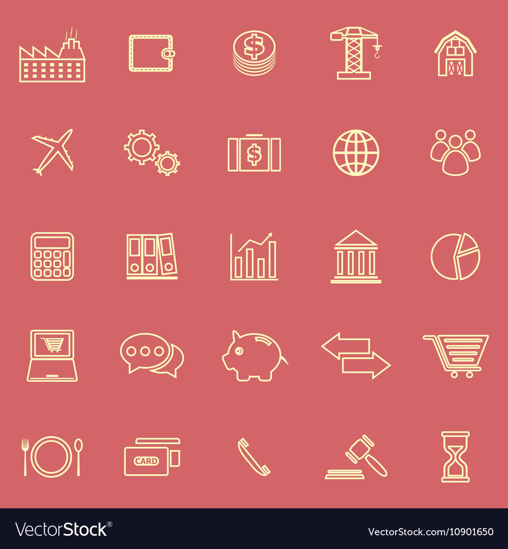 Economy line color icons on red background