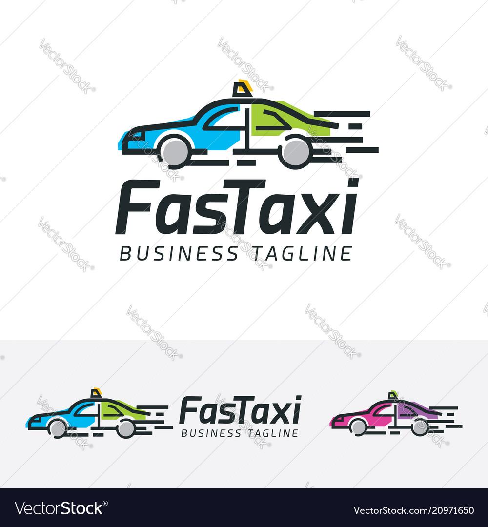 Fast taxi logo design vector image