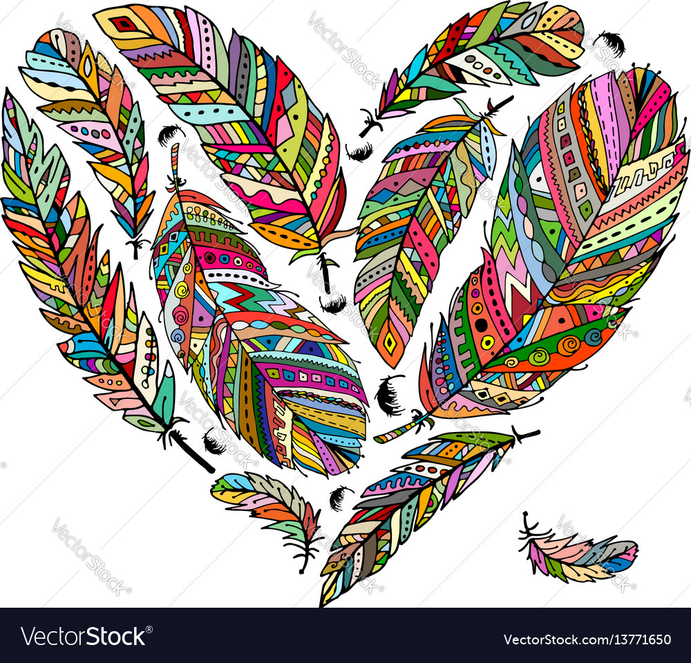 Feather collection heart shape for your design vector image