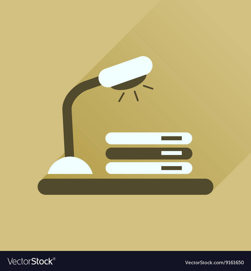 Flat icon with long shadow lamp documents