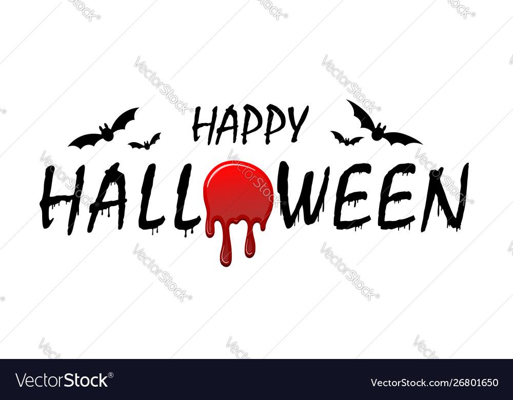 Happy halloween text bats black scary design
