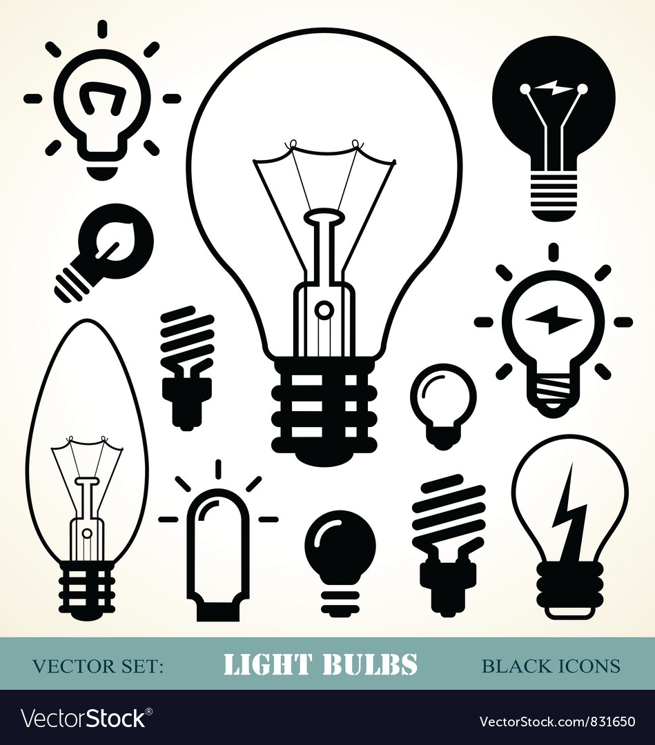 Light bulbs icon set