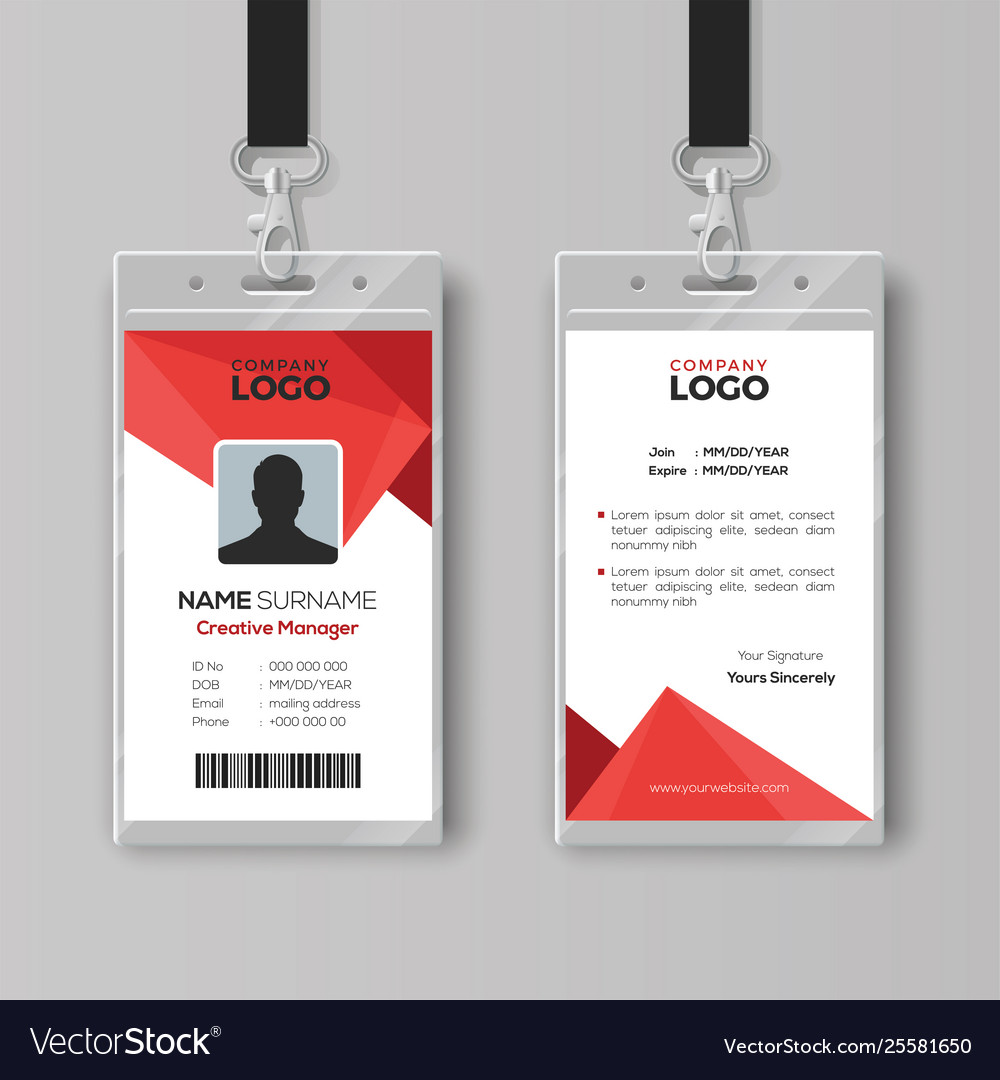 modern id card template with abstract red vector image