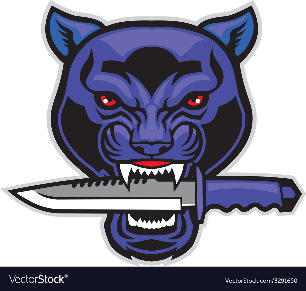 Panther head bite a military blade