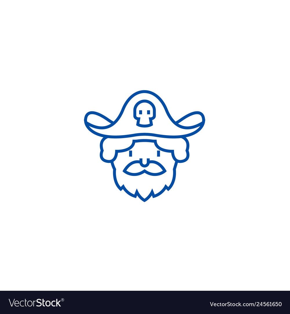 Pirate line icon concept pirate flat