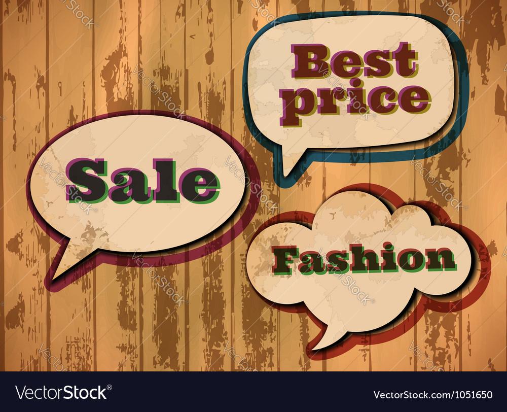 Vintage sale speech bubbles