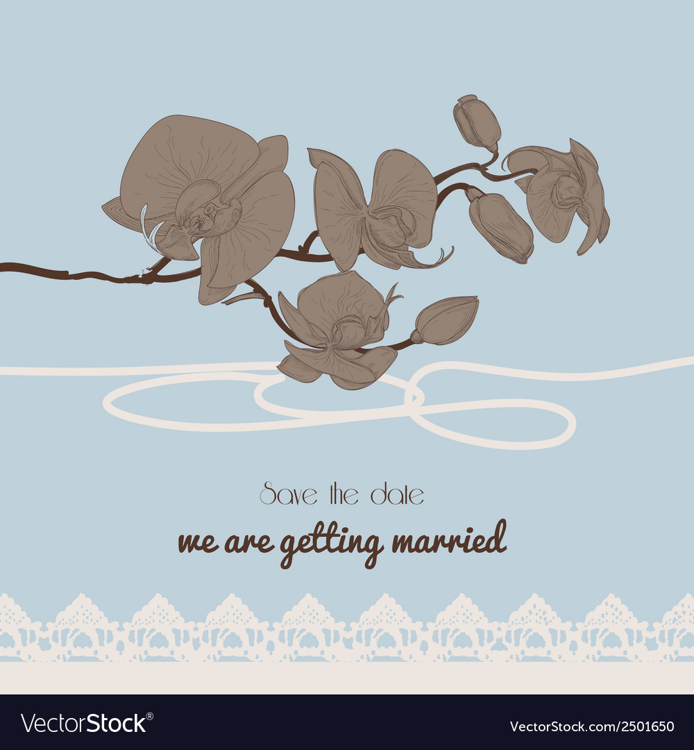 Vintage style wedding invitation orchid twig and