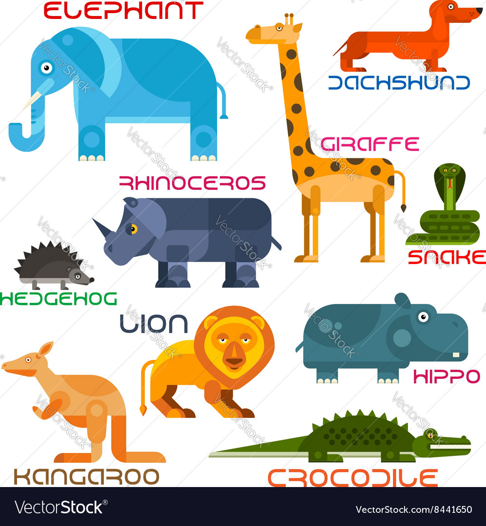 Wild and domestic animals cartoon flat icons