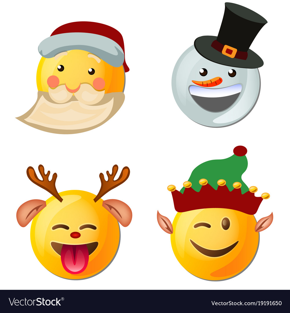 Yellow face with emotions and christmas hat