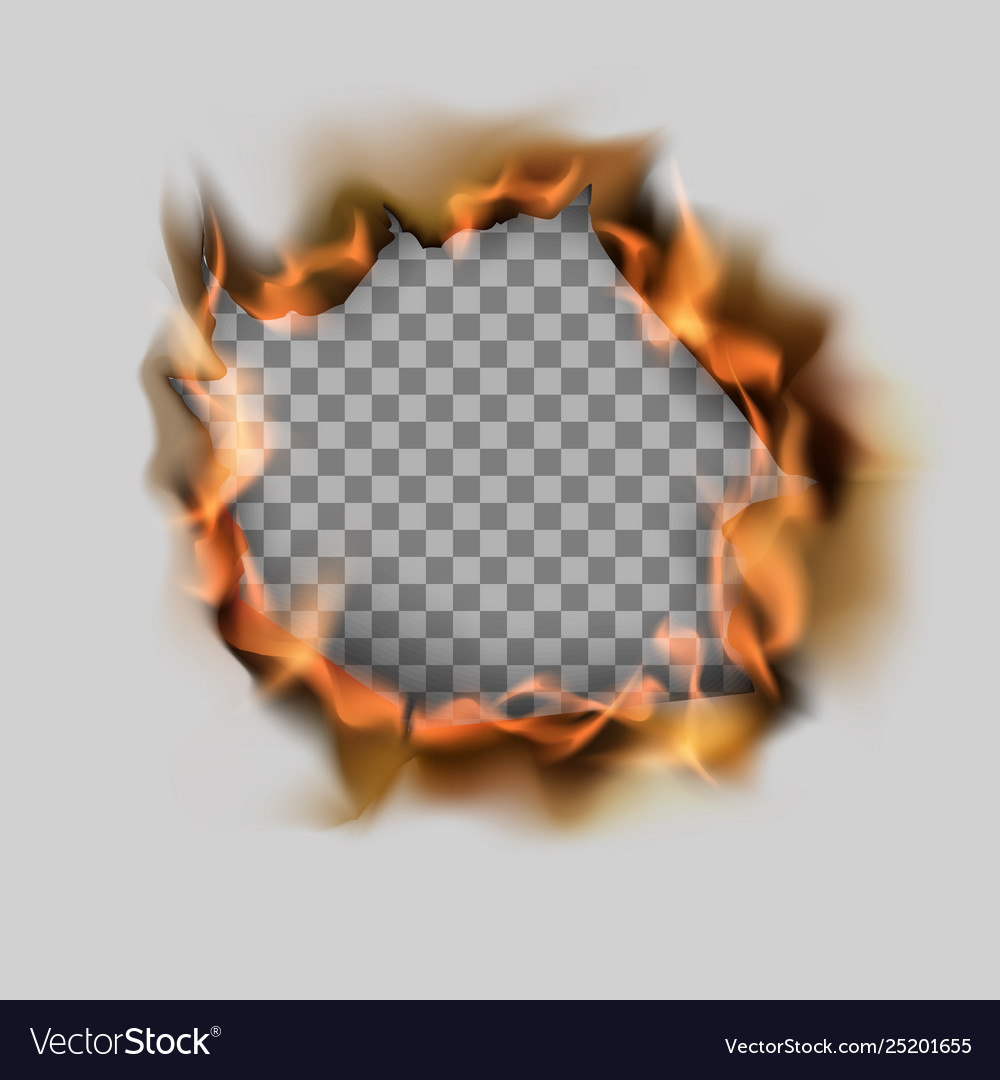 Burning torn hole in paper sheet and flame on