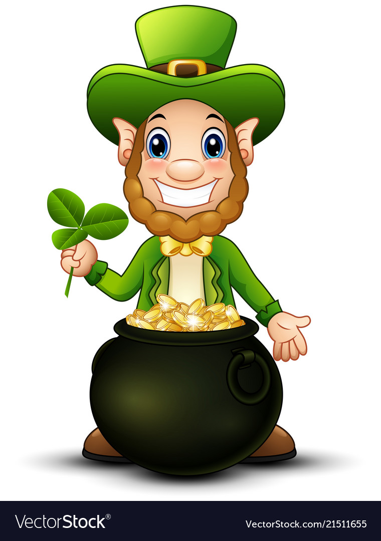 cartoon leprechaun with pot of gold and holding cl