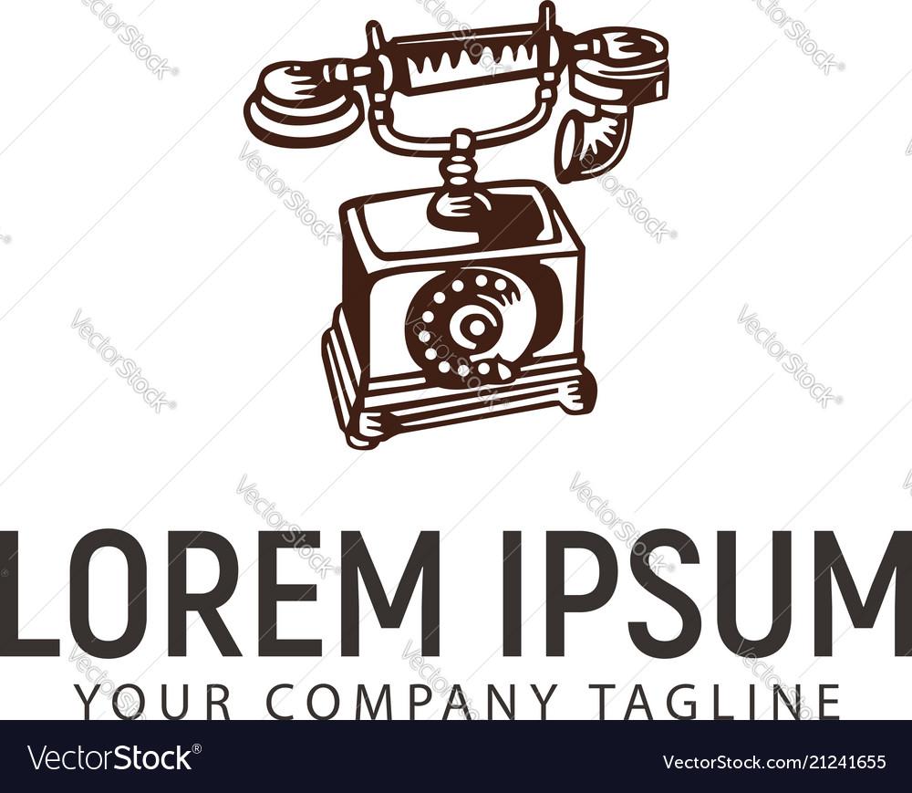 Classic telephone hand drawn logo design concept