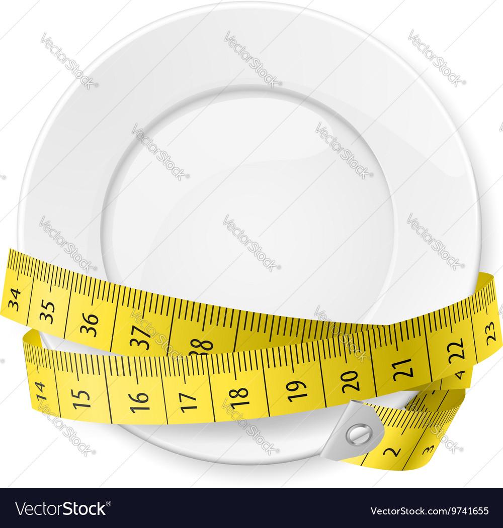 Crossed spoon and fork plate Diet metr 01 vector image