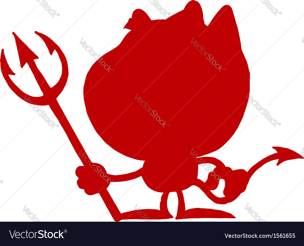 Devil silhouette cartoon vector image